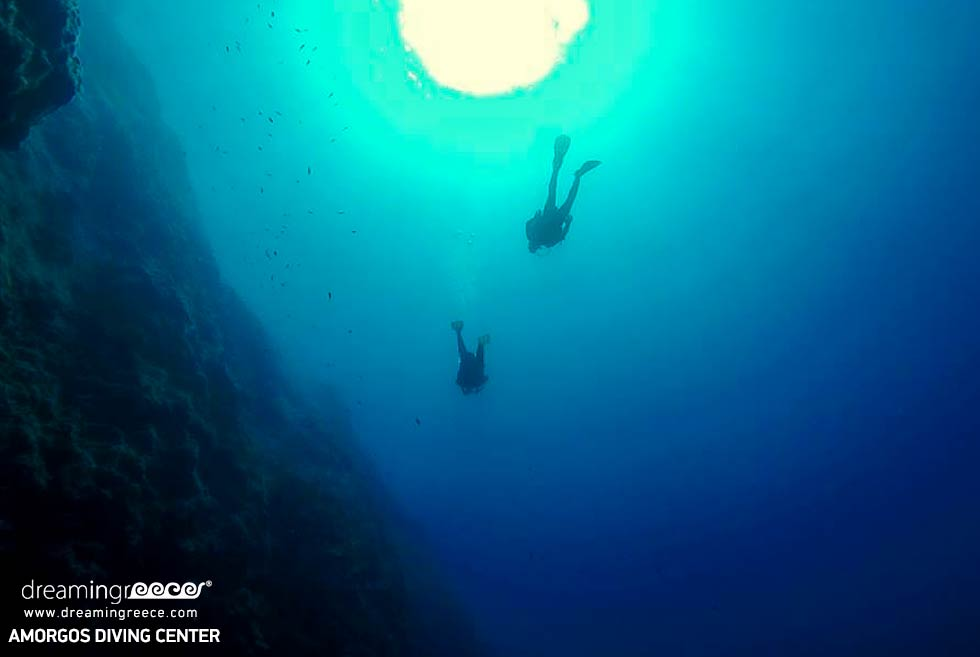 Amorgos Diving Center. Deep Blue Wall in Greece. Travel guide of Amorgos
