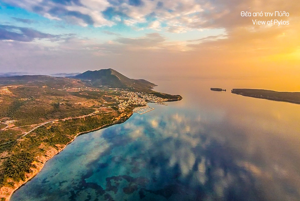 Costa Navarino. Pylos sunset view. Holidays in the Peloponnese. Travel Guide Greece