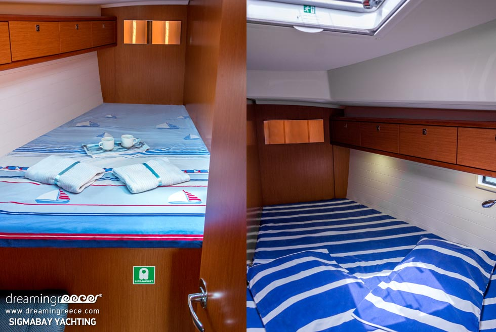 Yacht Charter Greece. Bedrooms. Sail with SigmaBay Yachting in the Greek islands.