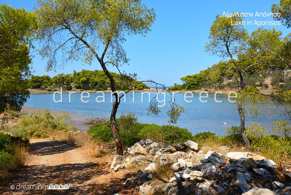 Lake Aponisos. Vacations in Agistri island Greece. Travel Argosaronic islands