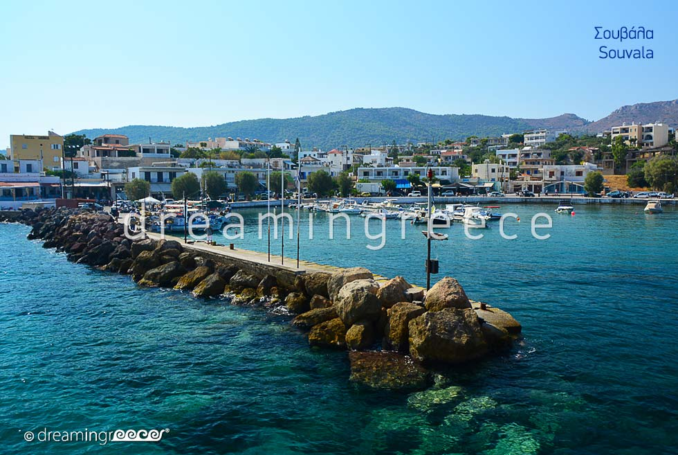 Souvala Aegina island. Tourist Guide of Greece. Holidays Greek islands.