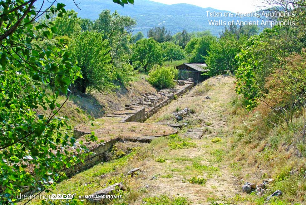 Walls of Ancient Amphipolis Greece. Archaeological sites in Macedonia