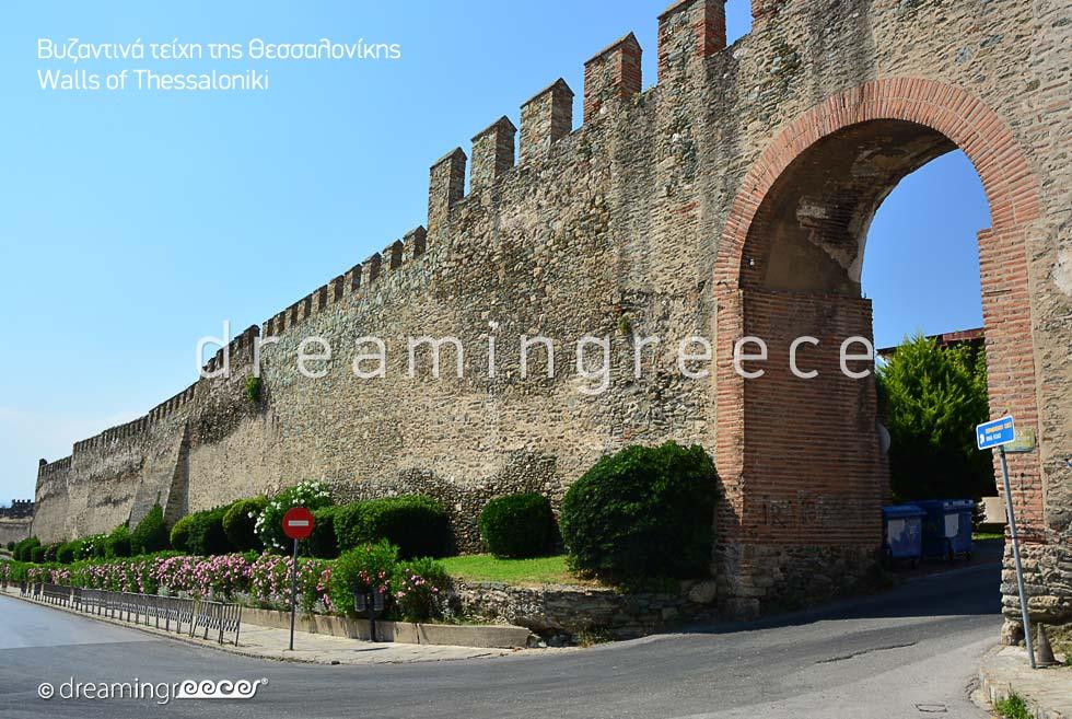 Byzantine walls Thessaloniki. Travel guide Greece