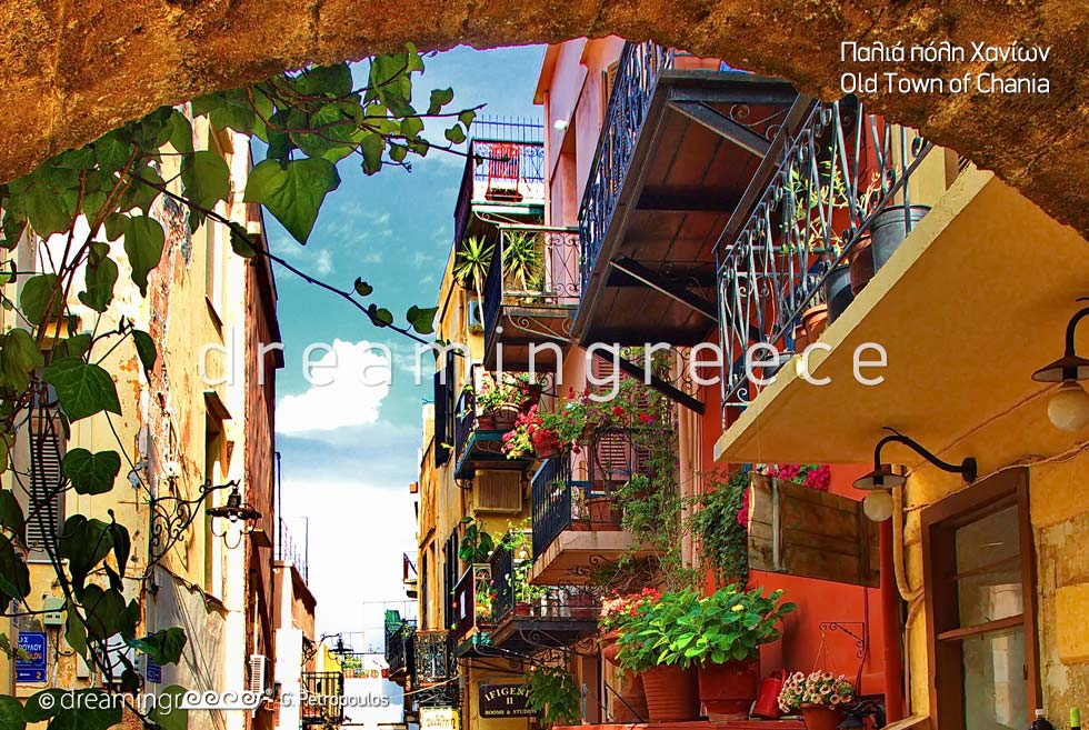 Old Town of Chania. Travel Guide of Crete island Greece