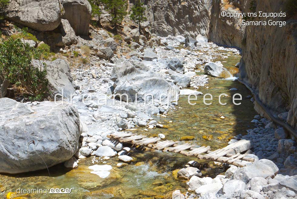 Samaria Gorge Chania Crete island. Travel Guide of Greece. Greek islands.