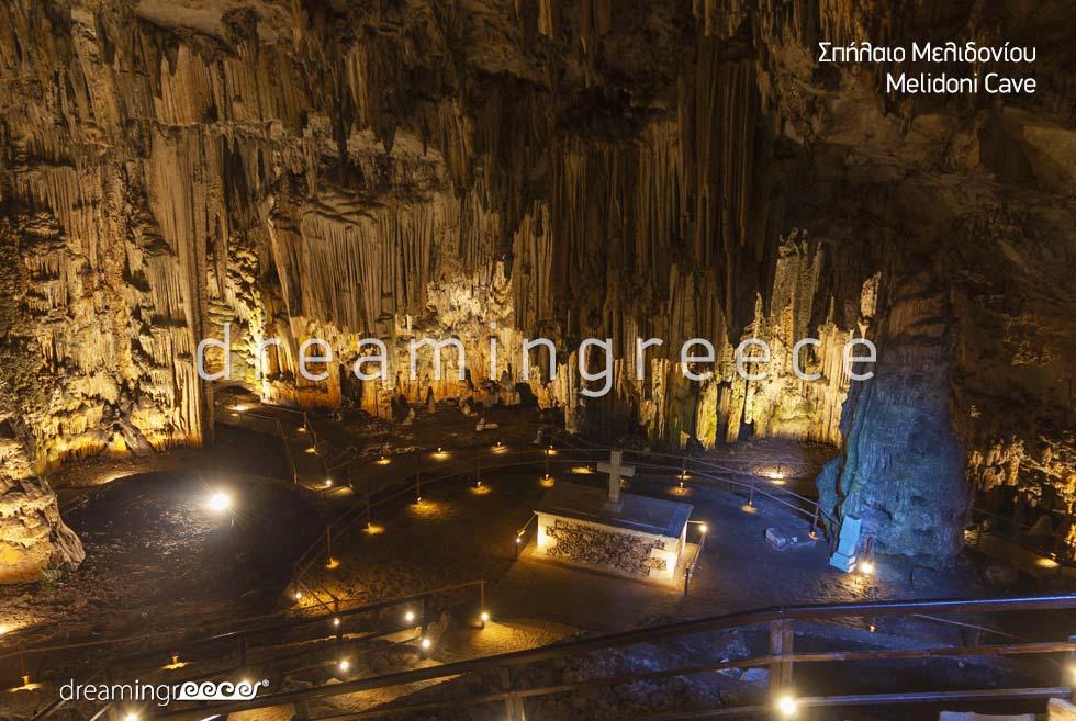 Melidoni Cave Rethymno. Tourist Guide of Crete island Greece