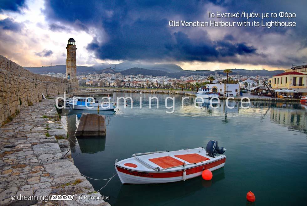 Old Venetian Harbour Rethymno Crete island. Summer Vacations in Greece