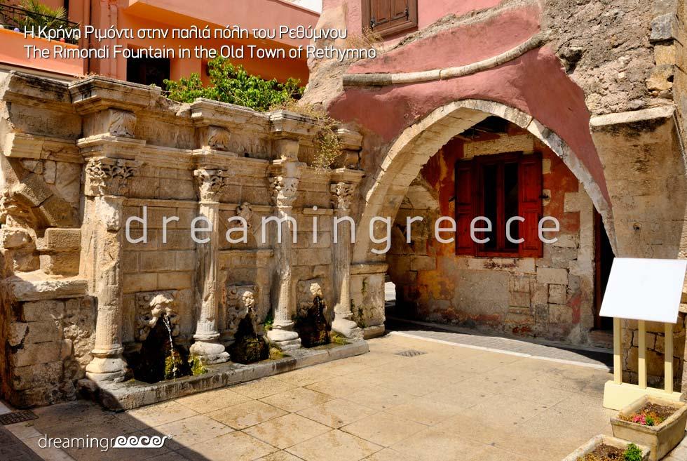 Rimondi Fountain Rethymno Crete island Greece