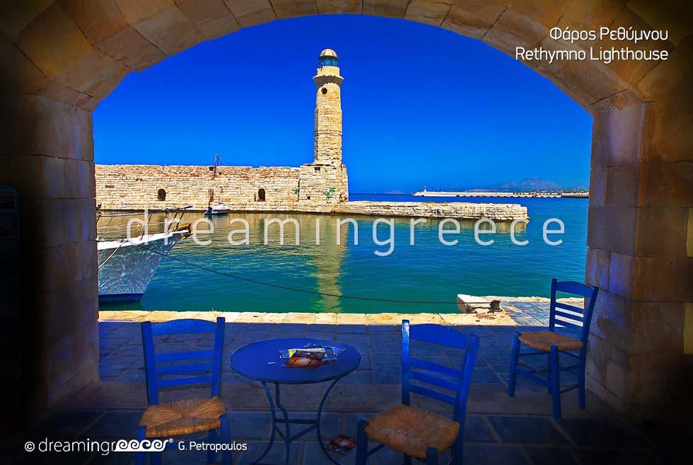 Lighthouse Rethymno Crete island . Travel guide of Greece