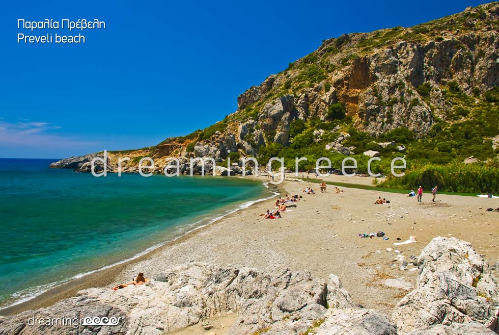 Holidays in Preveli beach in Rethymno Crete Greece