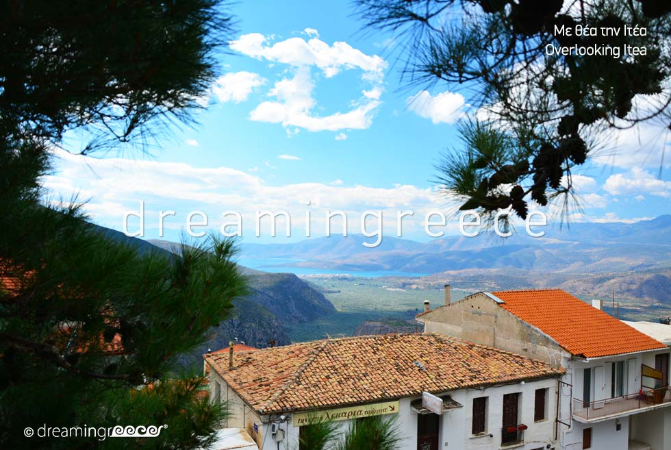 Overlooking Itea from Delphi. Holidays in Greece.