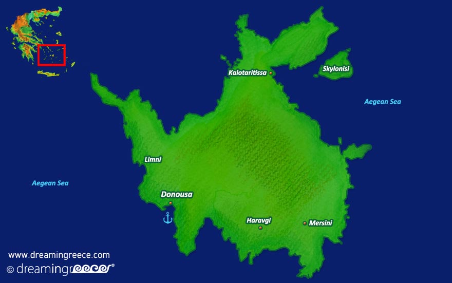 Donousa island Map Greece Cyclades islands