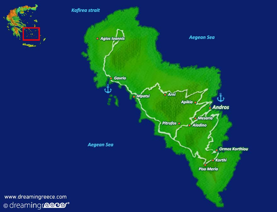 Map Andros Island Greece