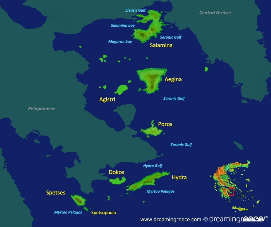 Argosaronic islands Map Greece. Vacations Greek islands.
