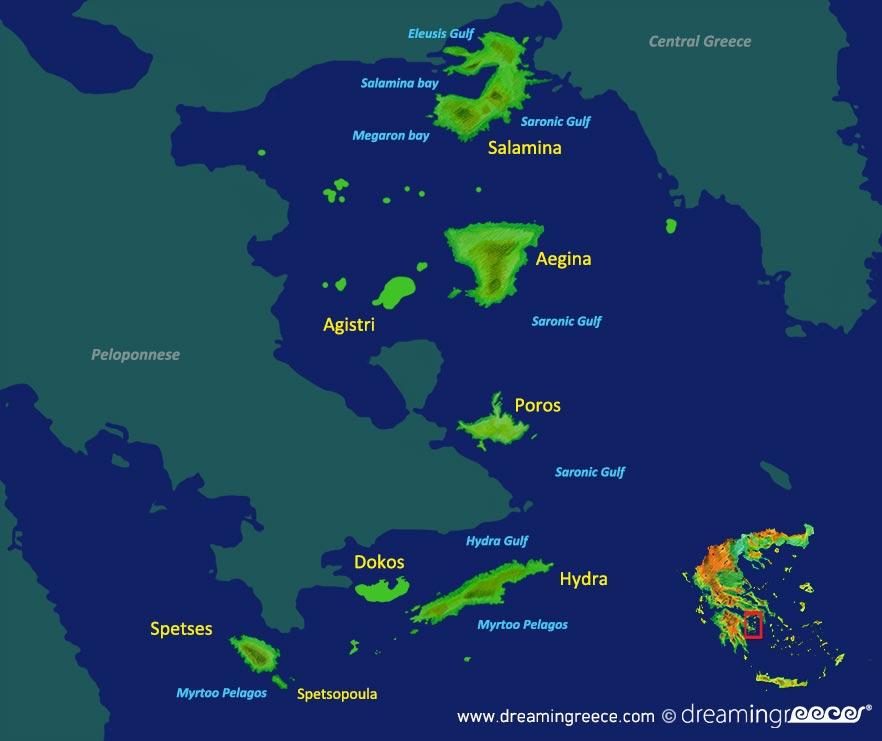 Argosaronic islands Map Greece. Vacations Greek islands.