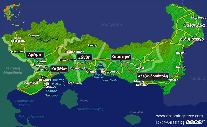 Ανατολική Μακεδονία και Θράκη Χάρτης