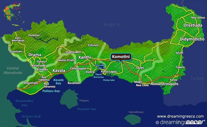 Komotini Map Greece. Holidays in Greece.