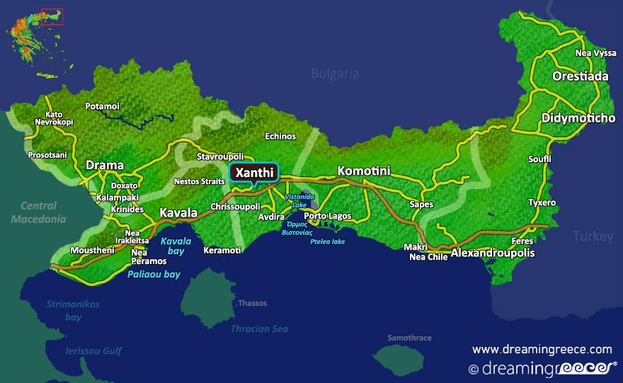 Xanthi Map Greece. Holidays in Greece.