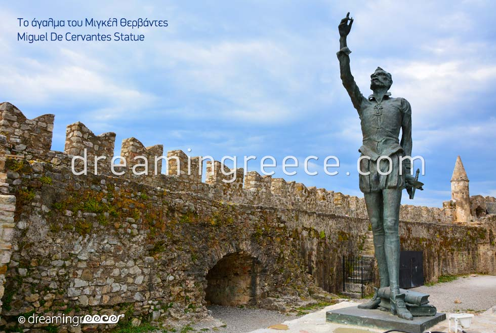 Miguel de cervantes statue in Nafpaktos