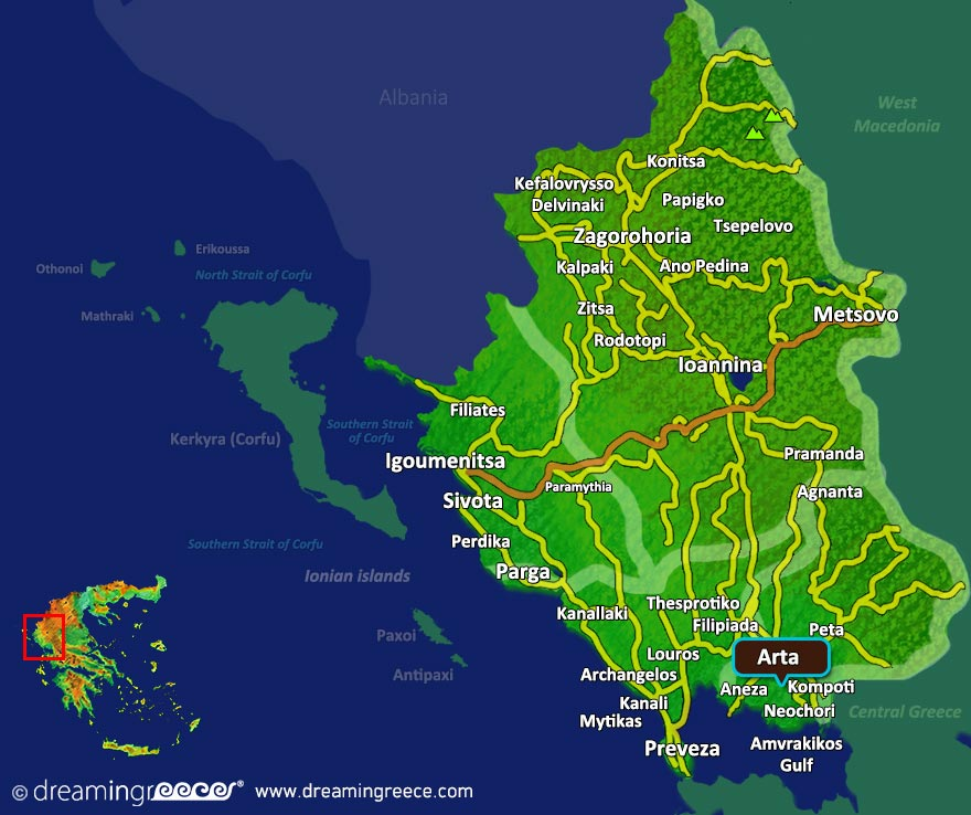 Arta Map in Epirus Greece