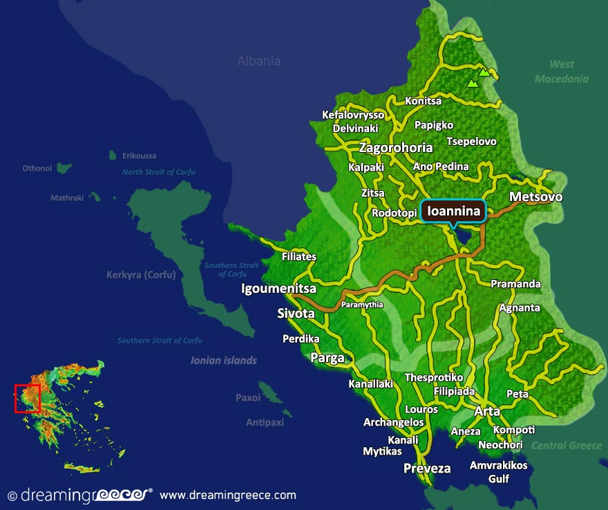 Ioannina Greece Map.Holidays In Ioannina Hotels Sightseeing Dreamingreece Com