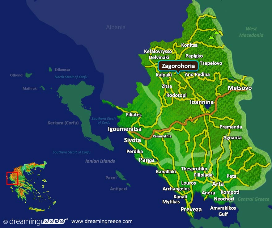 Zagorohoria Map in Epirus. Winter holidays in Greece.