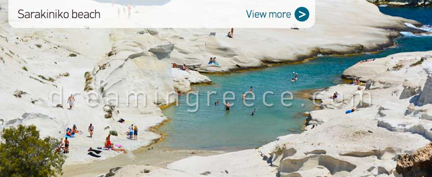 Sarakiniko beach Milos Beaches Greece. Vacations in the Greek islands.