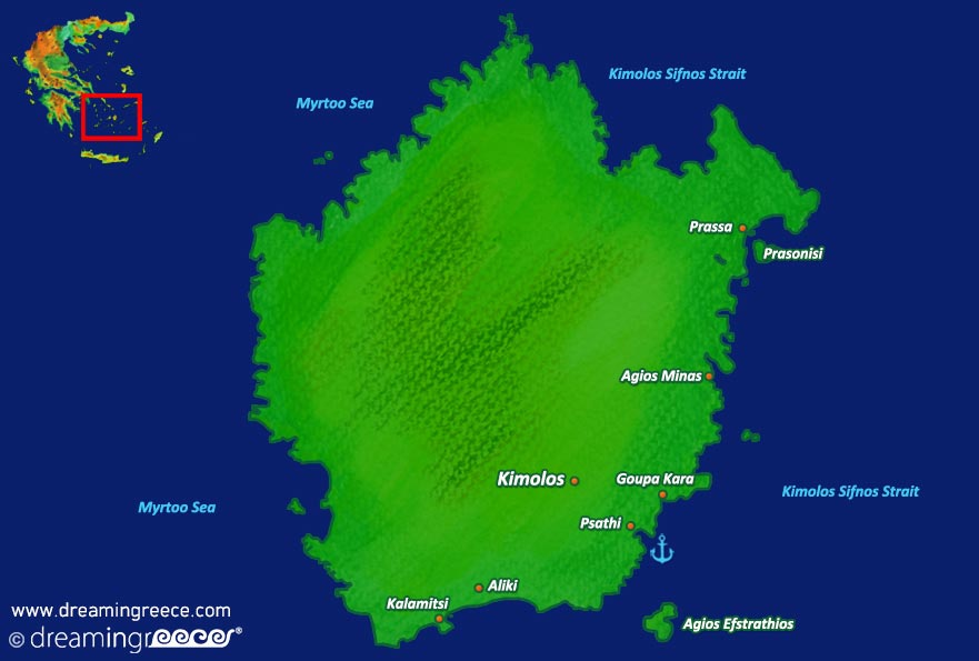 Kimolos island Map Greece