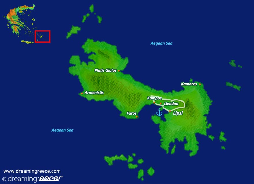 Lipsi island Map Dodecanese Greece
