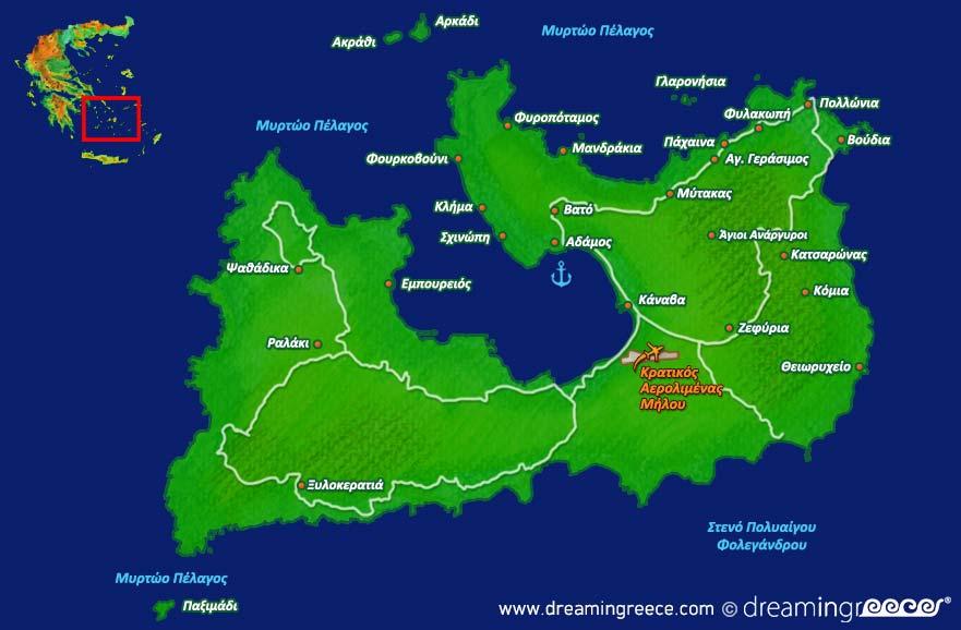 Milos Tourist Map Milos Mappery