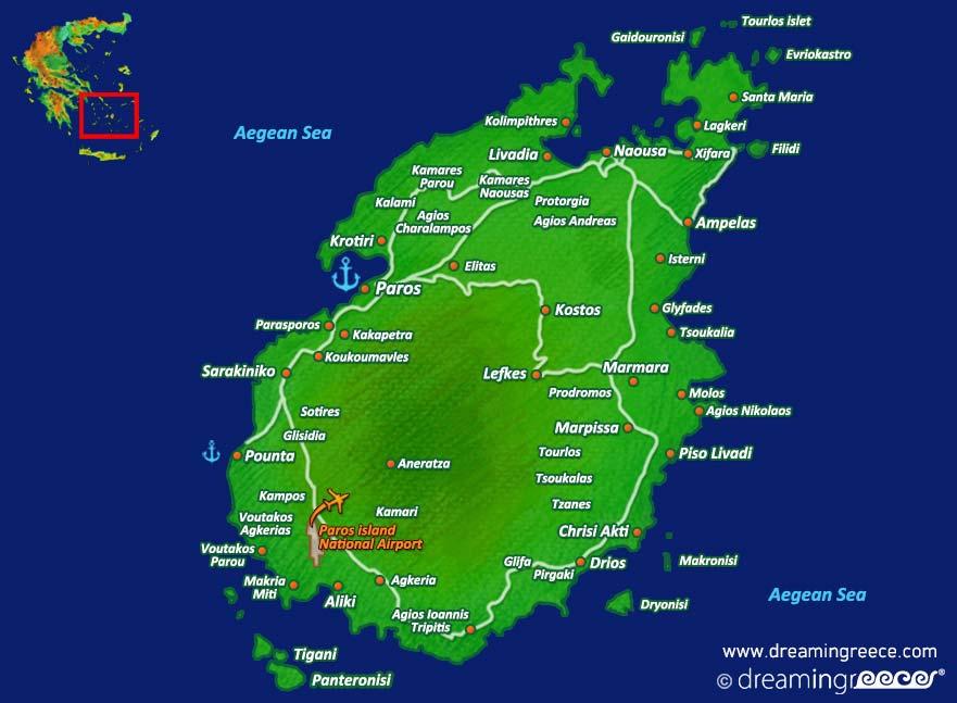 Islands Of Greece Map.Holidays In Paros Island Greece Greek Islands Dreamingreece