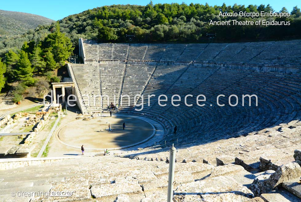 Ancient Theater of Epidavros Argolida Peloponnese Tourist Guide of Greece