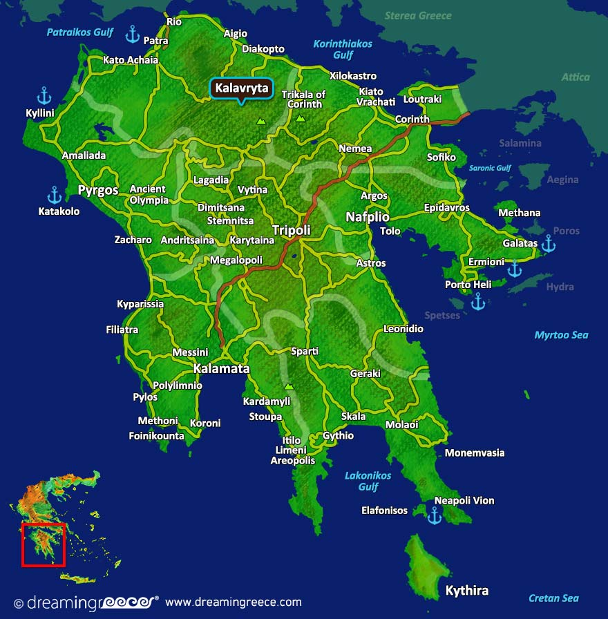Kalavryta Map Achaia Peloponnese Greece