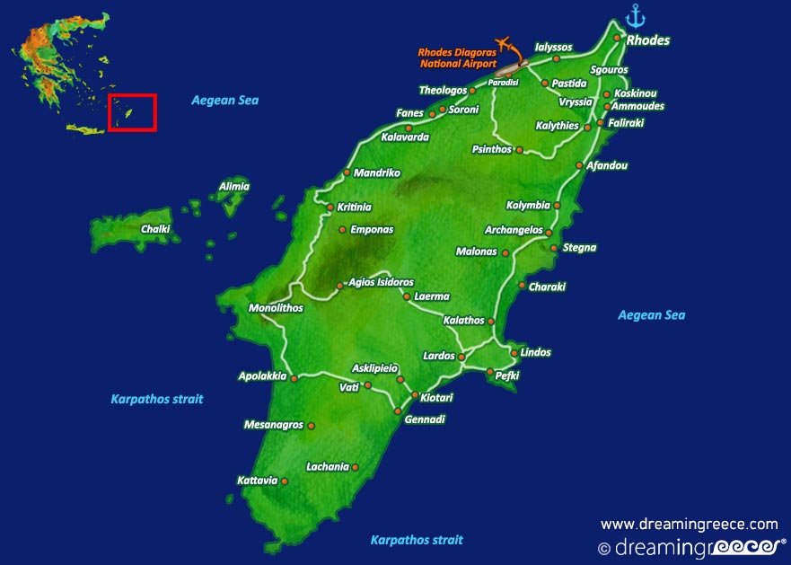 map of rhodes island greece Holidays In Rhodes Island Greece Hotels Dreamingreece Com map of rhodes island greece
