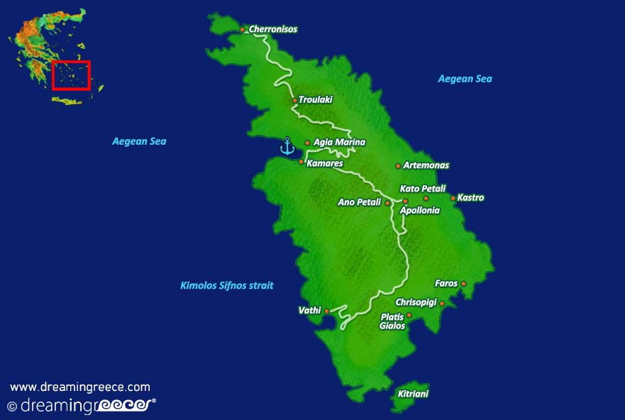 Sifnos island Map Greece