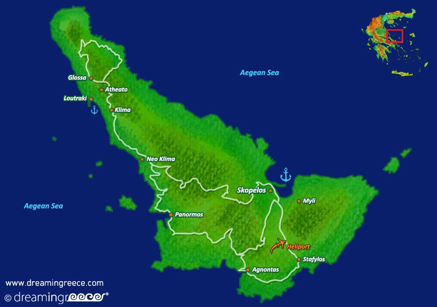Skopelos island Map Sporades islands Greece