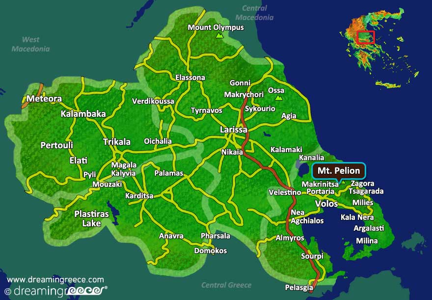 Pelion Map Greece Vacations. Greek Travel.