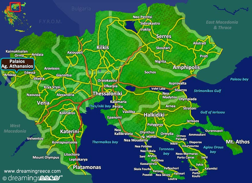 Palaios Agios Athanasios Map. Winter Holidays in Greece.