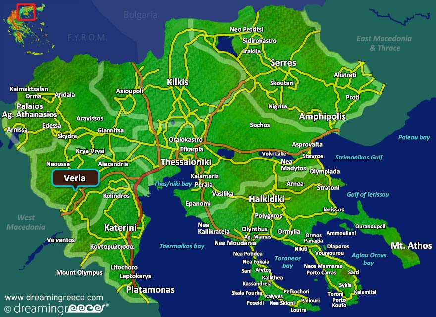 Veria Map Greece. Holidays in Greece.