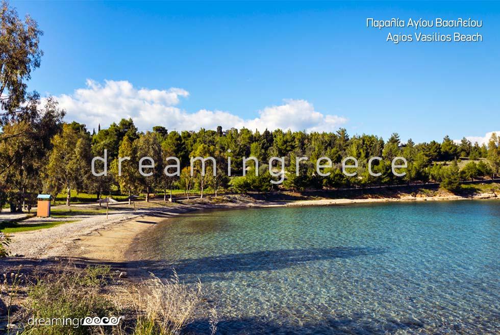 Agios Vasilios Beach in Galaxidi Greece