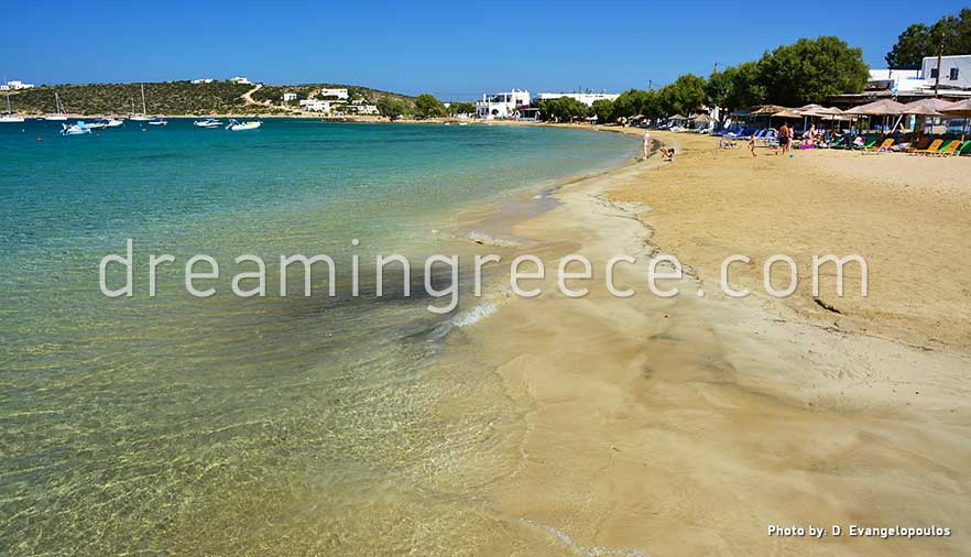 Aliki beach Paros beaches Greece. Holidays in Greece.