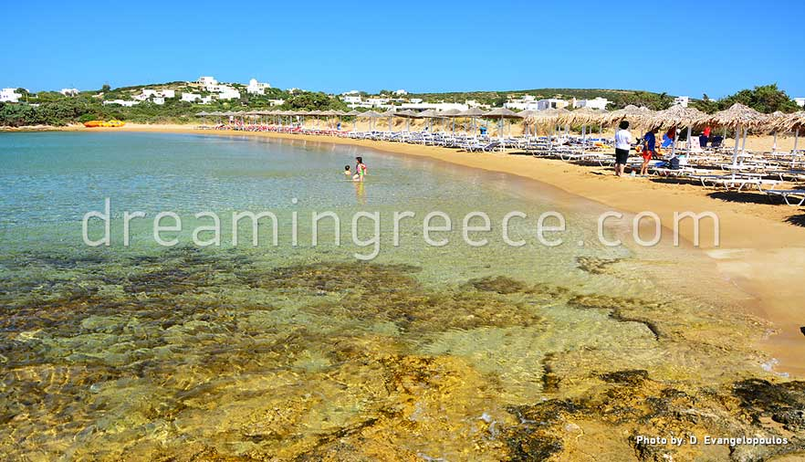 Mikri Santa Maria beach Paros beaches Greece. Holidays in Greece.