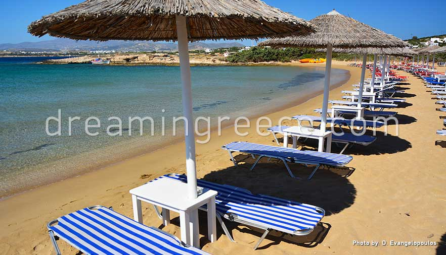 Mikri Santa Maria beach Paros beaches Greece. Holidays in Paros island.