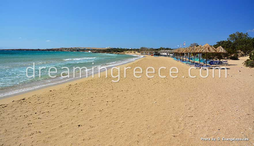 Santa Maria beach Paros beaches Greece. Holidays in Greece.
