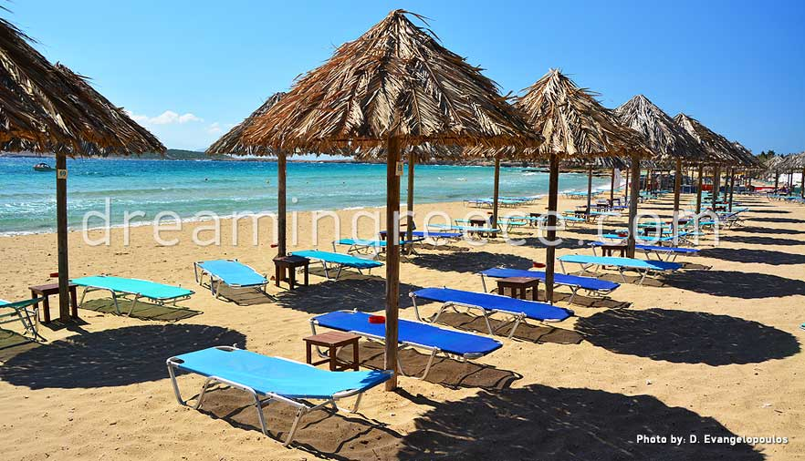Santa Maria beach Paros beaches Greece.  Visit Paros Greece.