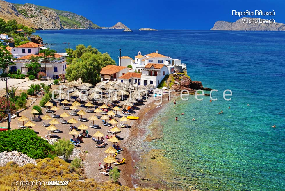 Vlicho beach in Hydra island Greece. Vacations Greece Greek islands.