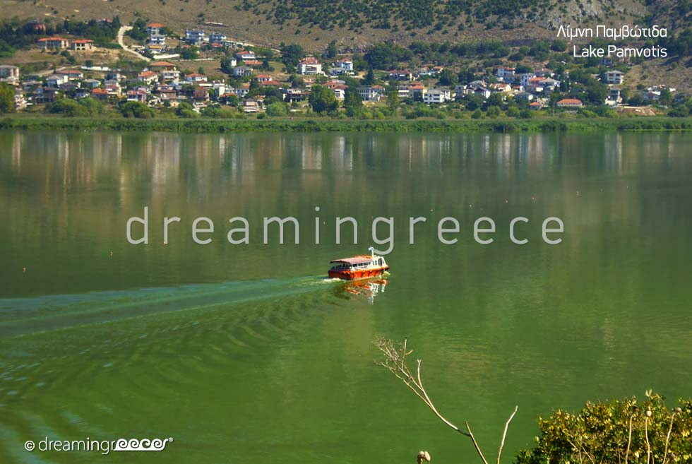 Lake Pamvotis in Ioannina Epirus. Winter Holidays in Greece