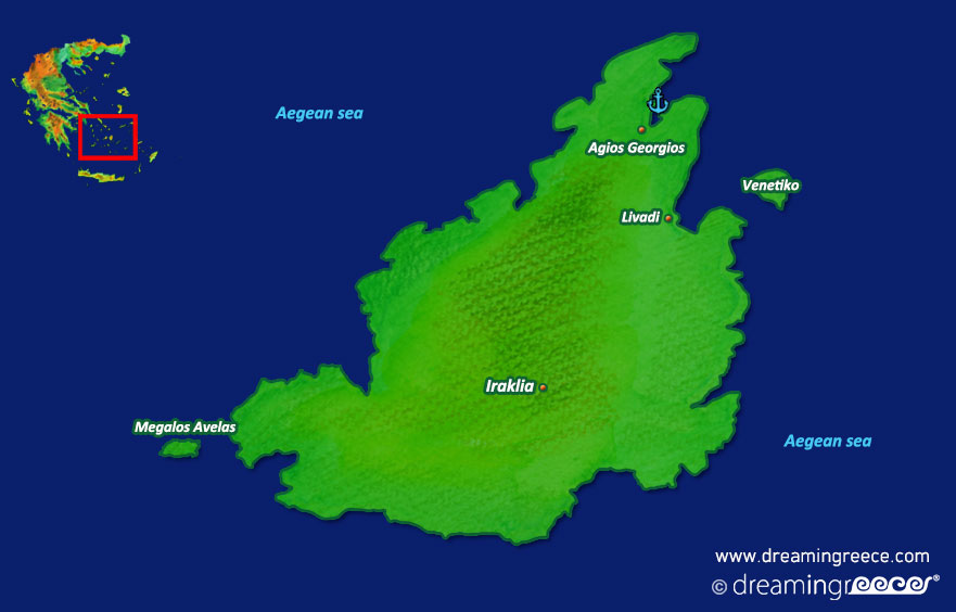 Iraklia island Map Greece Cyclades islands. Greek islands.