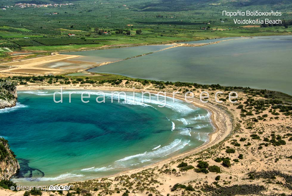 Best beach in the Peloponnese Voidokoilia beach in Messinia Greece