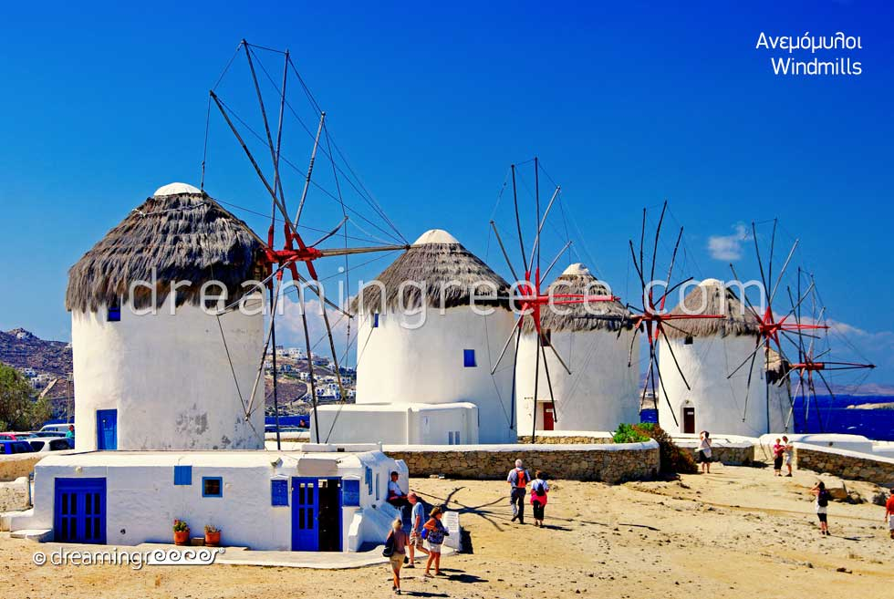 Visit the Windmills Mykonos island. Summer Holidays in Greece